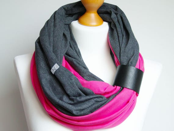 Infinity scarf with leather band, infinity scarves by ZOJANKA, cotton lightweight infinity scarf, women scarves, casual scarf, gift ideas