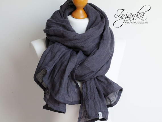 soft linen scarf in gray blue for women, pure linen lightweight scarf SHAWL wrap women, pure linen,  linen accessories women