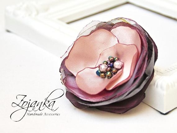Fabric Flower BROOCH Pin Petal Flower Pin Organza Satin handmade, handmade rose, gift idea, PIN flower, pins, women accessories
