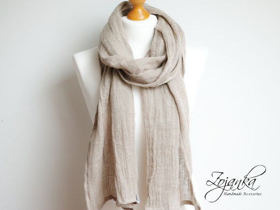 Softened LINEN soft scarf - washed natural linen scarf - all season SHAWL  for women - pure linen - natural scarf - eco scarf fashion