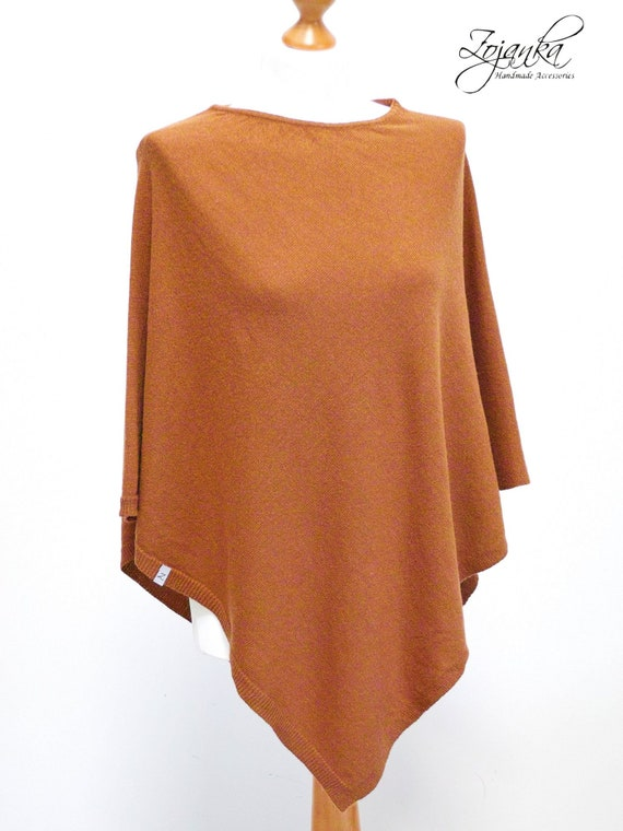 RUSTY PONCHO wrap, wool poncho cape, travel wrap, gift ideas, autumn fashion accessories, wool poncho cape, gift ideas for her