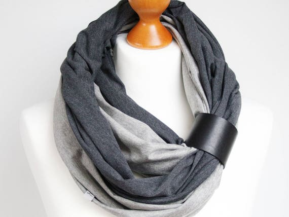 Infinity scarf with leather strap, infinity scarves by ZOJANKA, cotton mediumweight infinity scarf, all year scarves,  gift ideas for friend
