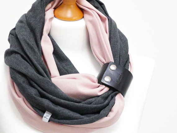 Women scarf with leather cuff, infinity scarves by ZOJANKA, perfect cotton tube  scar - powder pink and grey color