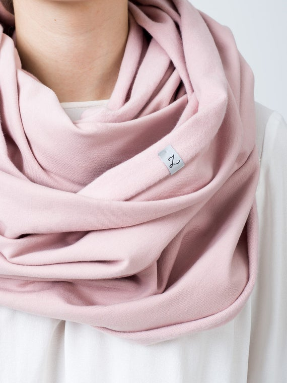 Cotton infinity ccarf for women, LIGHT PINK jersey infinity scarf, gift ideas for friend
