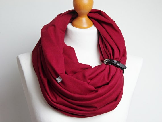 BURGUND Infinity scarf for women, lightweight cotton tube scarf with leather cuff, maroon infinity scarf, gift ideas Christmas