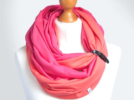 COTTON scarf infinity scarf with leather band, infinity scarves, scarf, cotton jersey, spring cotton scarf with strap, spring accessories