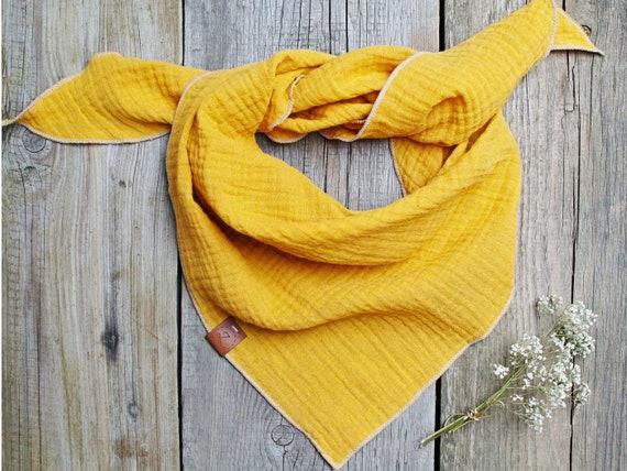 Cotton muslin neck scarf bandana face mask, cotton bandana triangle scarf  - soft neck scarf - soft bandana scarf for women, girls