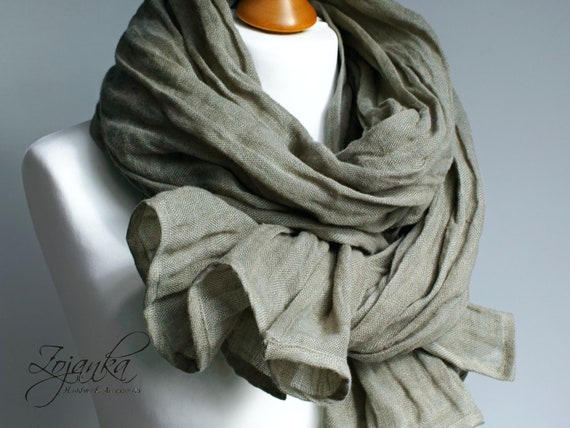 Soft linen scarf in EUCALYPTUS green, natural scarf SHAWL for women, pure linen, linen travel wrap, natural scarf, eco fashion, travel wrap