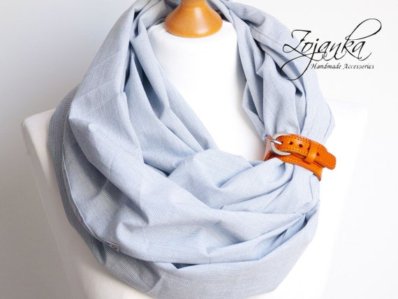 Infinity Scarf tube scarf with leather cuff, blue nautical style infinity scarf with leather strap, plaid cotton linen scarf for women