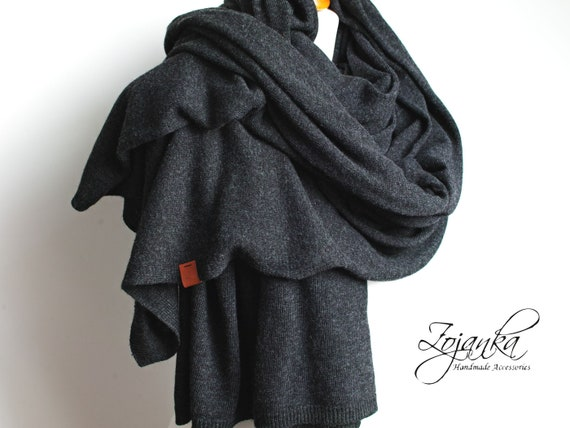 LARGE oversized WOOL scarf, dark gray wool scarf for women, scarf wrap for winter, gift ideas for her-mum-sister, wool cashmere chunky scarf