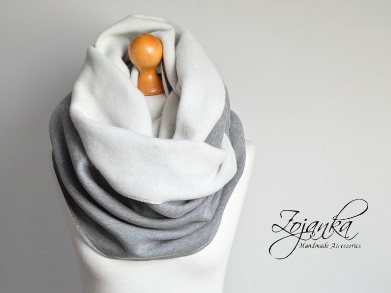 sweatshirt jersey scarf hooded scarves cozy snood extra CHUNKY hooded snood infinity scarf GRAY CHUNKY Infinity Scarf winter scarf