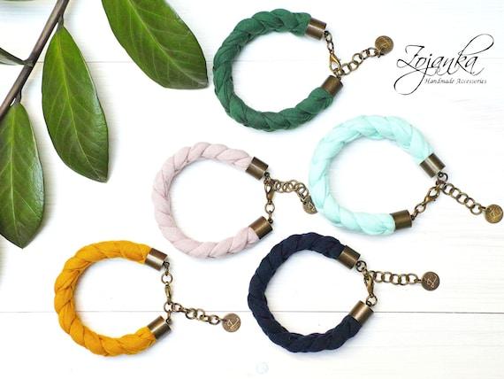 Cotton  braided bracelet women, summer accessories, braided bracelet jersey fabric, braided bracelets, friendship bracelet, summer jewelry