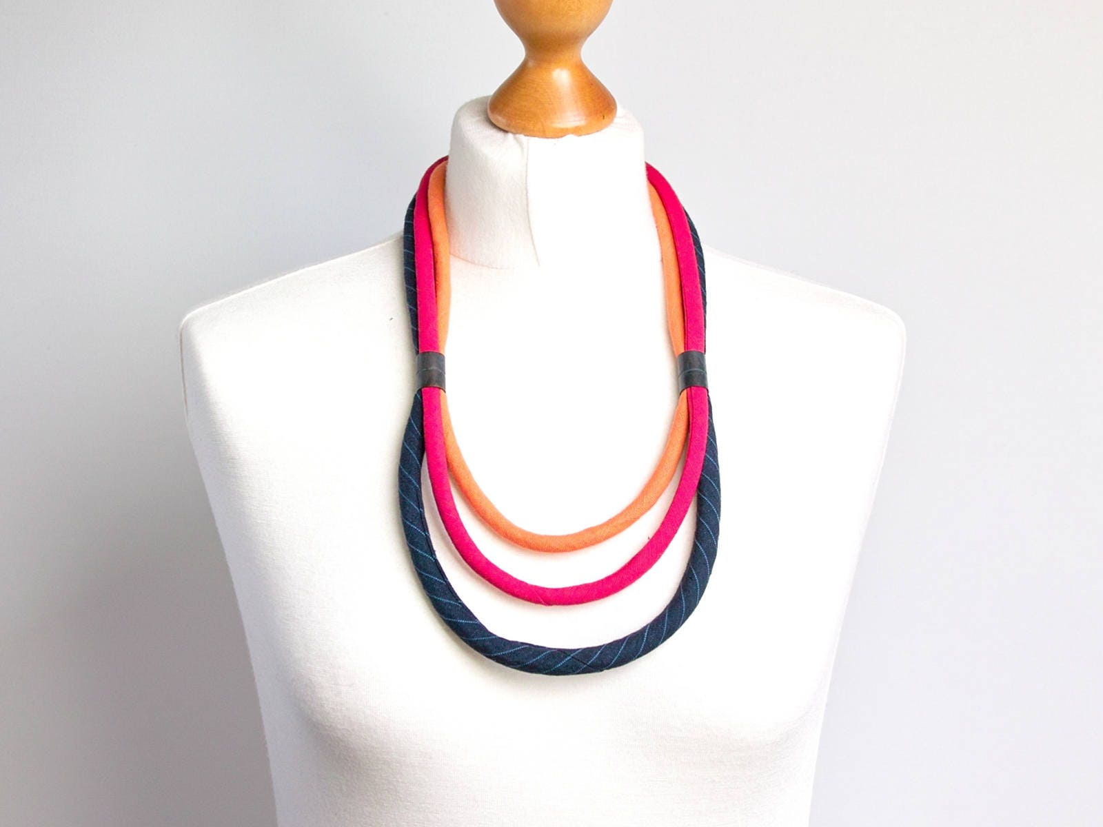 2328f2334537c MODERN necklace, Multistrand necklace, FABRIC necklace, fabric ...