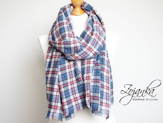 Lightweight cotton wrap scarf, lightweight plaid scarf in blue colour,  fashion oversized scarf, gift ideas, cotton wrap, scarf for women