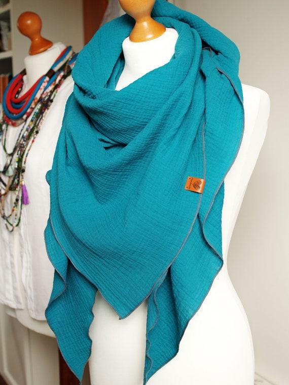 Cotton muslin women scarf shawl, cotton triangle scarf  - soft scarf - TEAL shawl scarf for women, cotton shawl wrap