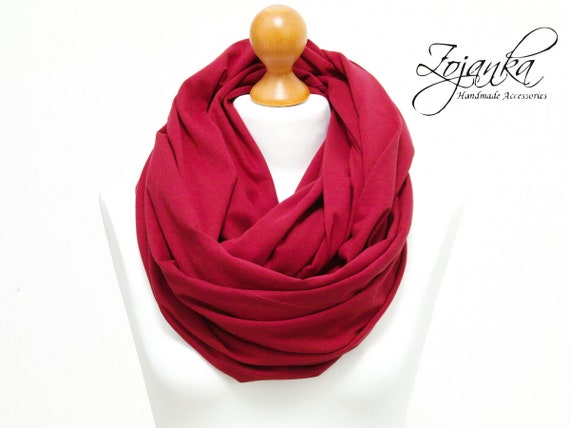 Oversized cotton Infinity Scarf for women - BURGUNDY infinity scarf- large snood scarf, hooded circle Scarf, large Jersey Infinity scarf