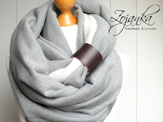 Oversized Infinity Scarf with leather cuff, fashion infinity scarf, CHUNKY infinity scarf, grey scarf, christmas gift ideas