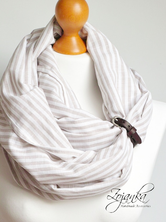 Striped LINEN infinity Scarf tube scarf with leather strap for women, natural linen scarf, gift idea, lightweight summer scarf