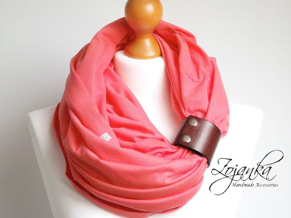 CORAL RED Infinity scarf for women, lightweight cotton tube scarf with leather cuff, coral infinity tube scarf, plain scarf with cuff
