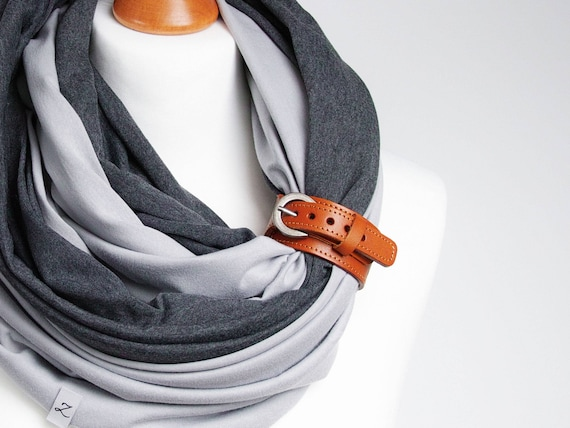 Infinity scarf with leather strap, infinity scarves by ZOJANKA, cotton lightweight infinity scarf, autumn scarves, casual scarf, gift ideas