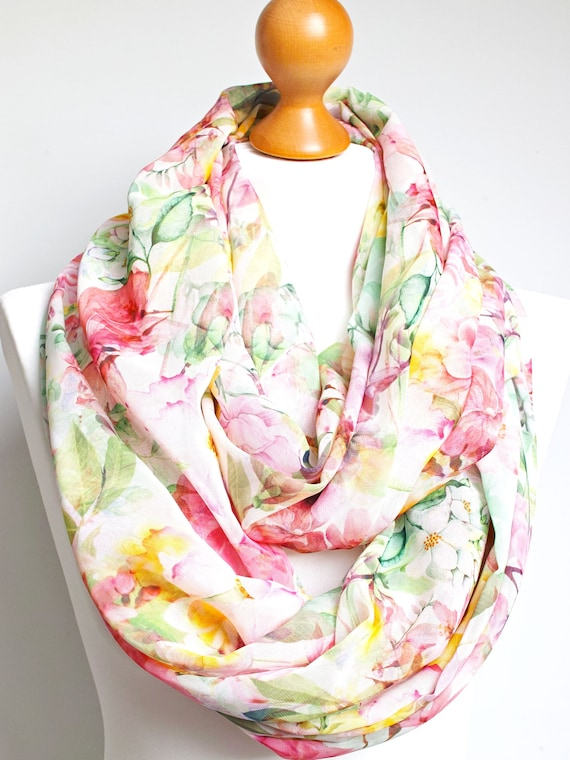 Lightweight spring infinity scarf for women, floral women scarf, mum gift, girlfriend gift, lightweight infinity scarves for summer