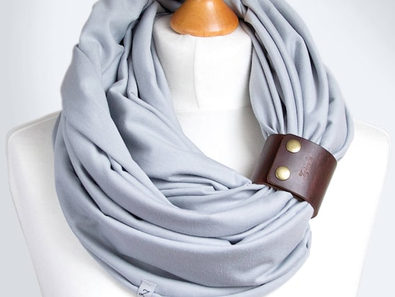 COTTON Infinity SCARF for women, gray scarf with leather clasp/cuff bracelet, infinity scarf women, cotton scarf, tube scarf, basic scarf