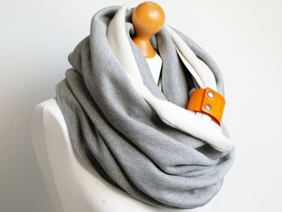 CHUNKY Infinity Scarf COWL with leather strap, gift for her, extra chunky snood,  women fashion infinity scarf, cozy SNOOD