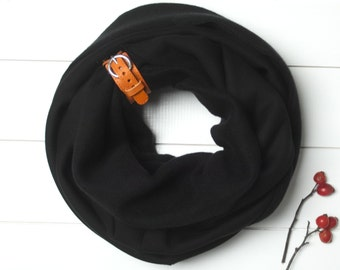 CHUNKY SCARF, extra CHUNKY Infinity Scarf with leather cuff, winter fashion infinity scarf, black chunky scarf,