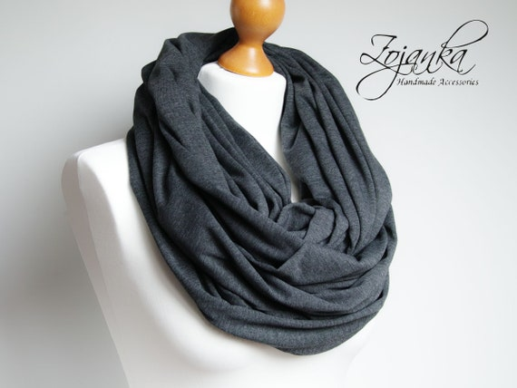Oversized Infinity Scarf, DARK GREY infinity scarf, Chunky large cotton snood, hooded scarf, extra large jersey infinity scarf, gift ideas