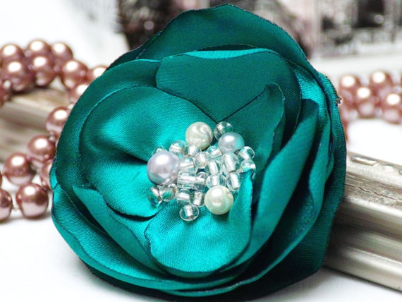 Floral Pin brooch for dress, organza satin handmade fabric flower brooch, textile brooch, emerald flower brooch, textile accessories