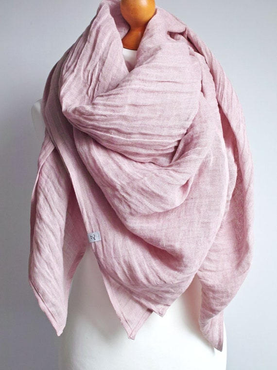 LARGE linen shawl scarf in dusty pink, shawl for women, pure linen lightweight scarf SHAWL wrap women, pure linen,  linen accessories women