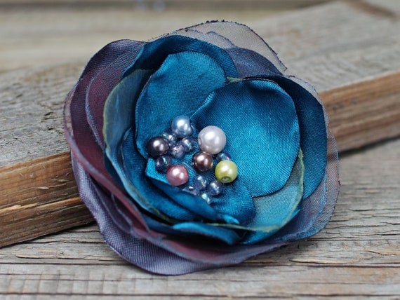 peacock BLUE fabric flower BROOCH for women, Pin Petal Flower Pin Organza handmade pin, blue floral brooch corsage, textile accessories
