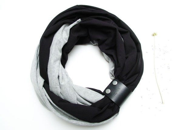 Women scarf with leather cuff, infinity scarves by ZOJANKA, cotton tub scarf, black scarf, lightweight scarf, mum gift, gift for her
