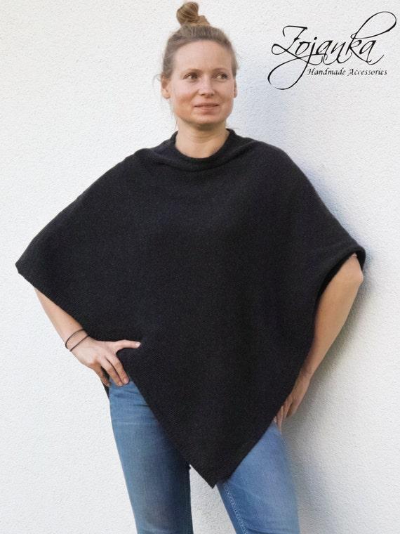 women PONCHO, wool poncho cape L-XL size, autumn fashion, gift ideas, poncho wrap, anthracite poncho wrap