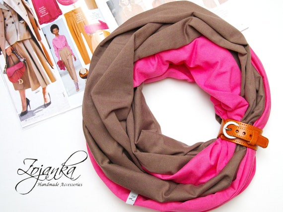 Cotton Infinity scarf with leather cuff for women, mediumweight infinity scarf, spring scarves