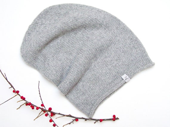 WINTER beanie, hat, winter slouchy beanie, fall beanie, light grey knit hat, autumn accessories