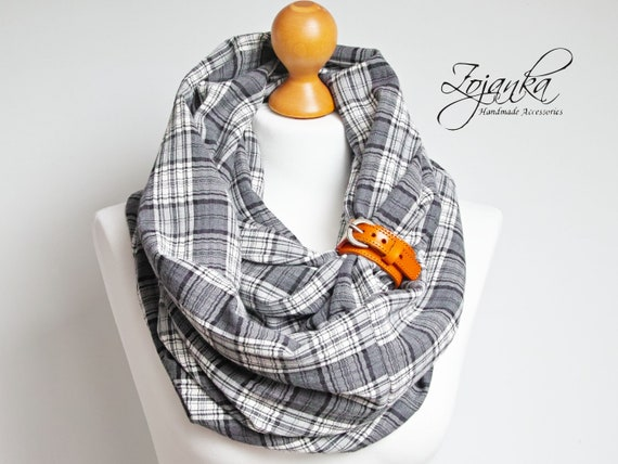 Plaid oversized infinity scarf for autumn winter, fashion infinity cotton scarf with leather cuff, plaid autumn scarf in gray color