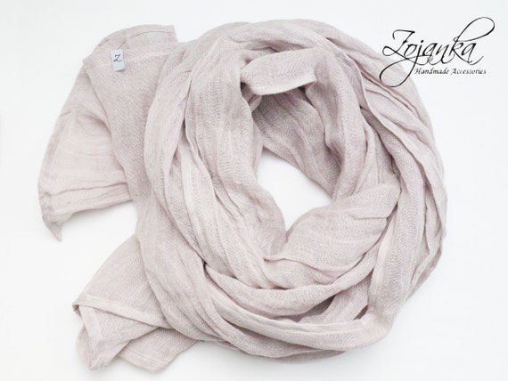 LARGE linen gauze scarf, natural softened linen scarf SHAWL wrap women, pure linen, natural scarf, eco scarf fashion, linen accessories