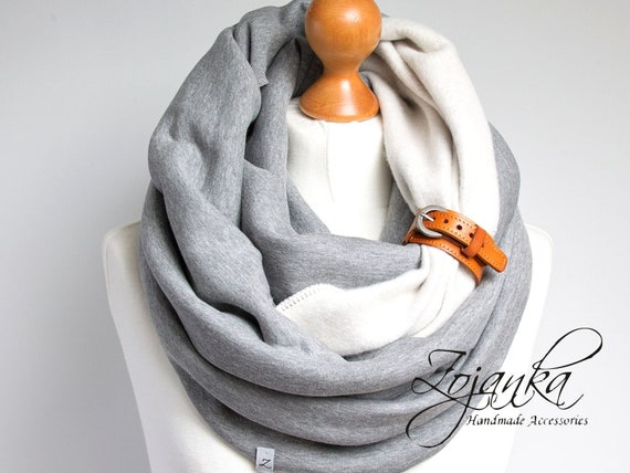 CHUNKY Infinity scarf with leather strap, hooded scarf for women, cozy SNOOD, simple winter scarf, gift ideas for friend, chunky wrap scarf