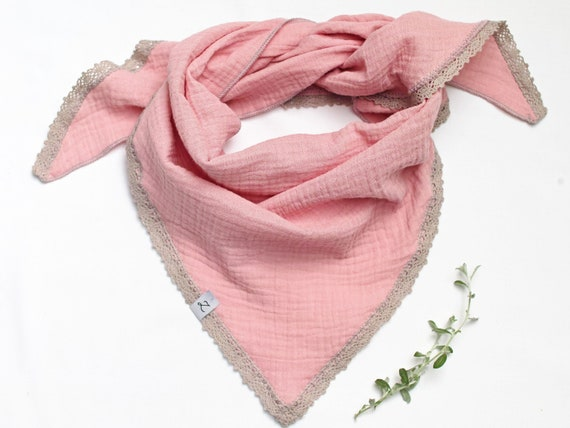 Cotton muslin neck scarf for girls 2-10 years, cotton bandana scarf for girls with dots pattern, soft neck scarf for kids