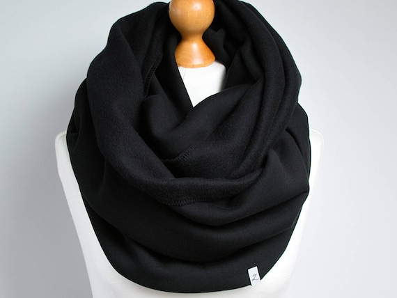 Black Infinity Scarf, hooded infinity scarf, BLACK jersey infinity scarf, oversized scarf, cozy chunky scarf, gift for her, gift ideas