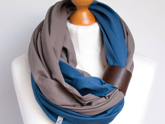 Scarf with leather cuff, infinity scarf, lightweight scarf made of two scarves, beige and blue scarf with cuff, cotton scarf, gift ideas