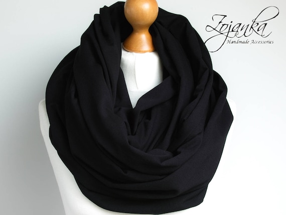 Oversized Infinity Scarf, BLACK infinity scarf, Chunky large snood, hooded circle Scarf, extra Large Jersey BLACK Infinity scarf, gift ideas
