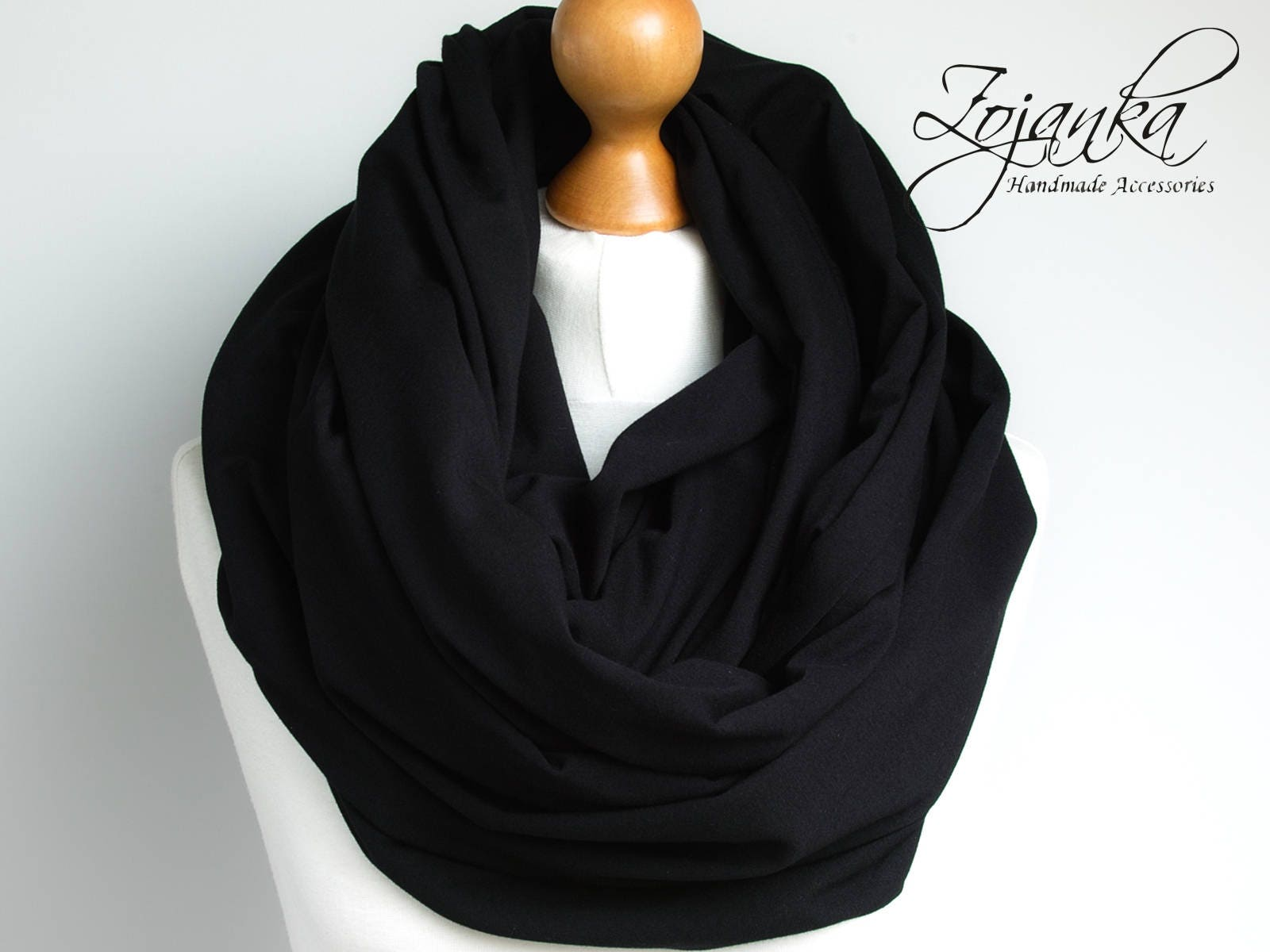 4dc451330 Oversized Infinity Scarf, BLACK infinity scarf, Chunky large snood, hooded circle  Scarf, extra Large Jersey BLACK Infinity scarf, gift ideas