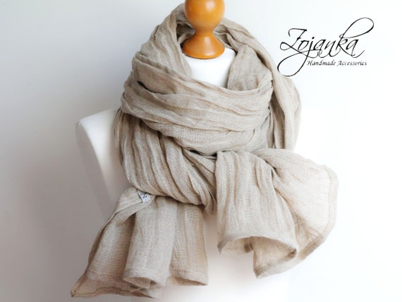 NATURAL BEIGE linen scarf, washed natural linen scarf, SHAWL  women, pure linen, natural scarf, eco scarf fashion, linen accessories women