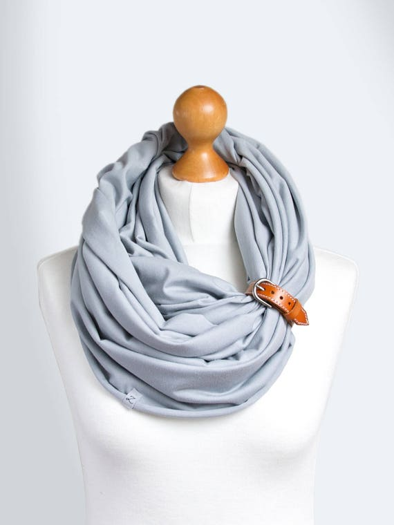 Cotton Infinity SCARF, gray scarf with leather clasp/cuff bracelet, infinity scarf, cotton scarf, tube scarf, basic scarf, women scarf