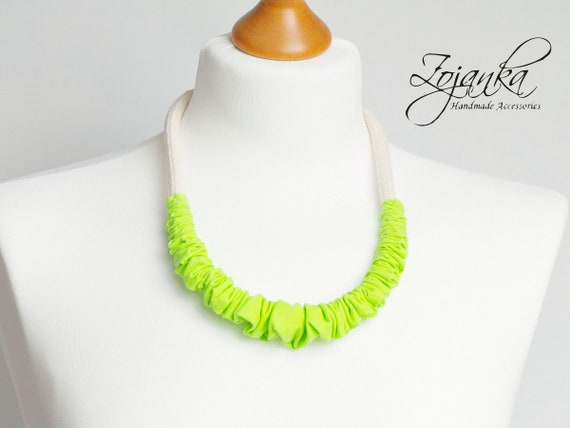 statement necklace for women, textile necklace, ecklace for women, simple necklace,  necklaces for women, NEON necklace, summer necklace