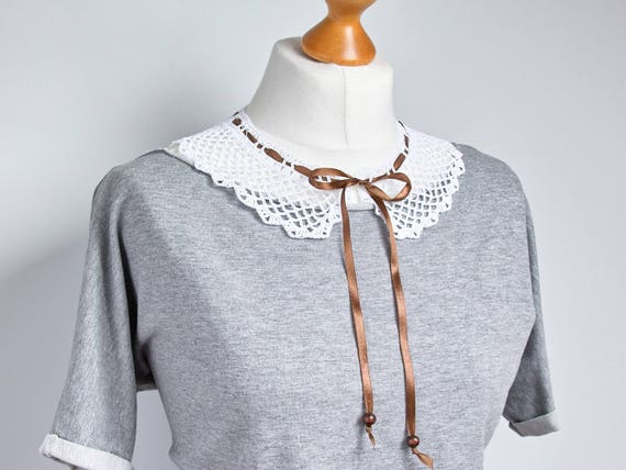 RETRO COLLAR Crochet collar, peter pan collar, white collar necklace, retro style, crochet jewelry, crochet necklace, dettachable collar