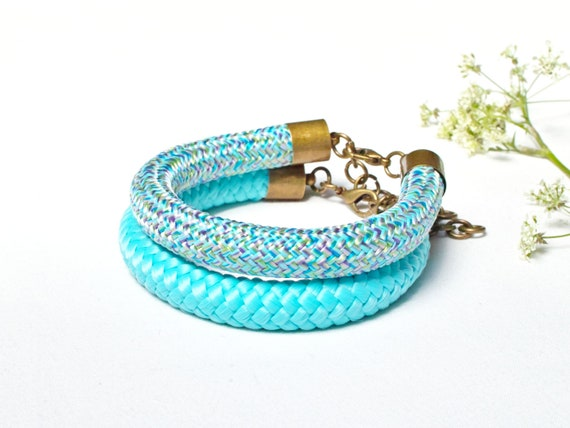 Rope colorful bracelets for women set of two, simple rope bracelets for summer, gift ideas,  rope bracelets for women
