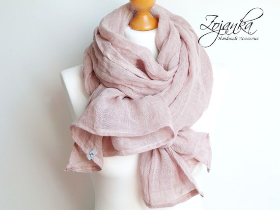 Soft linen scarf in dusty pink, natural scarf SHAWL for women, pure linen, linen scarf, natural scarf, eco fashion, dusty pink peony shawl